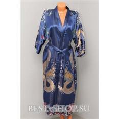 Халат китайский синий с вышивкой Дракон