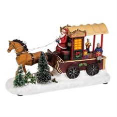 Новогоднее двигающееся украшение Повозка Деда Мороза