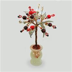 Дерево любви из бисера и камней коралла, граната и лунного камня