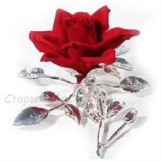 Роза из фарфора с посеребрением «Амбасадор»