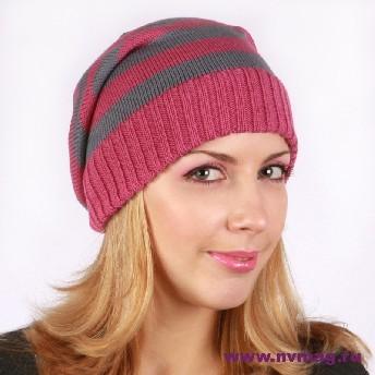 Женская полосатая шапка