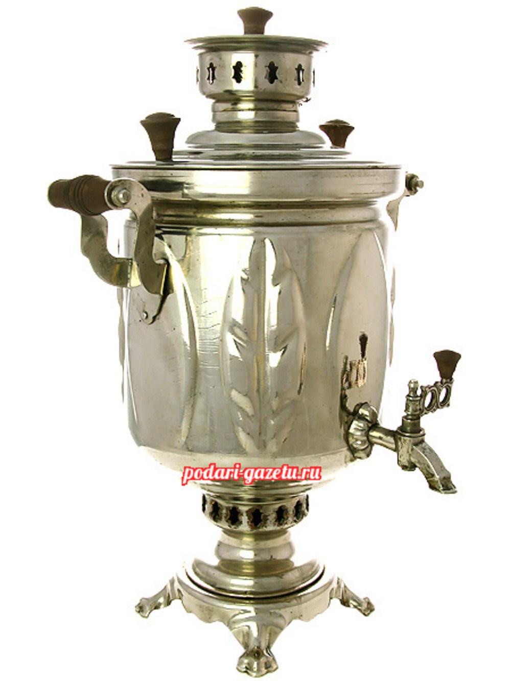 Угольный самовар (жаровой, дровяной) (5 литров) цилиндр никелированный Листья