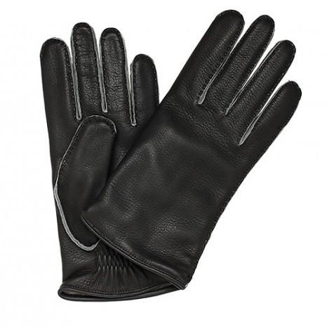 Тёмно-серые перчатки Merola из кожи оленя