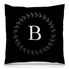 Черная подушка с полной запечаткой Монограмма