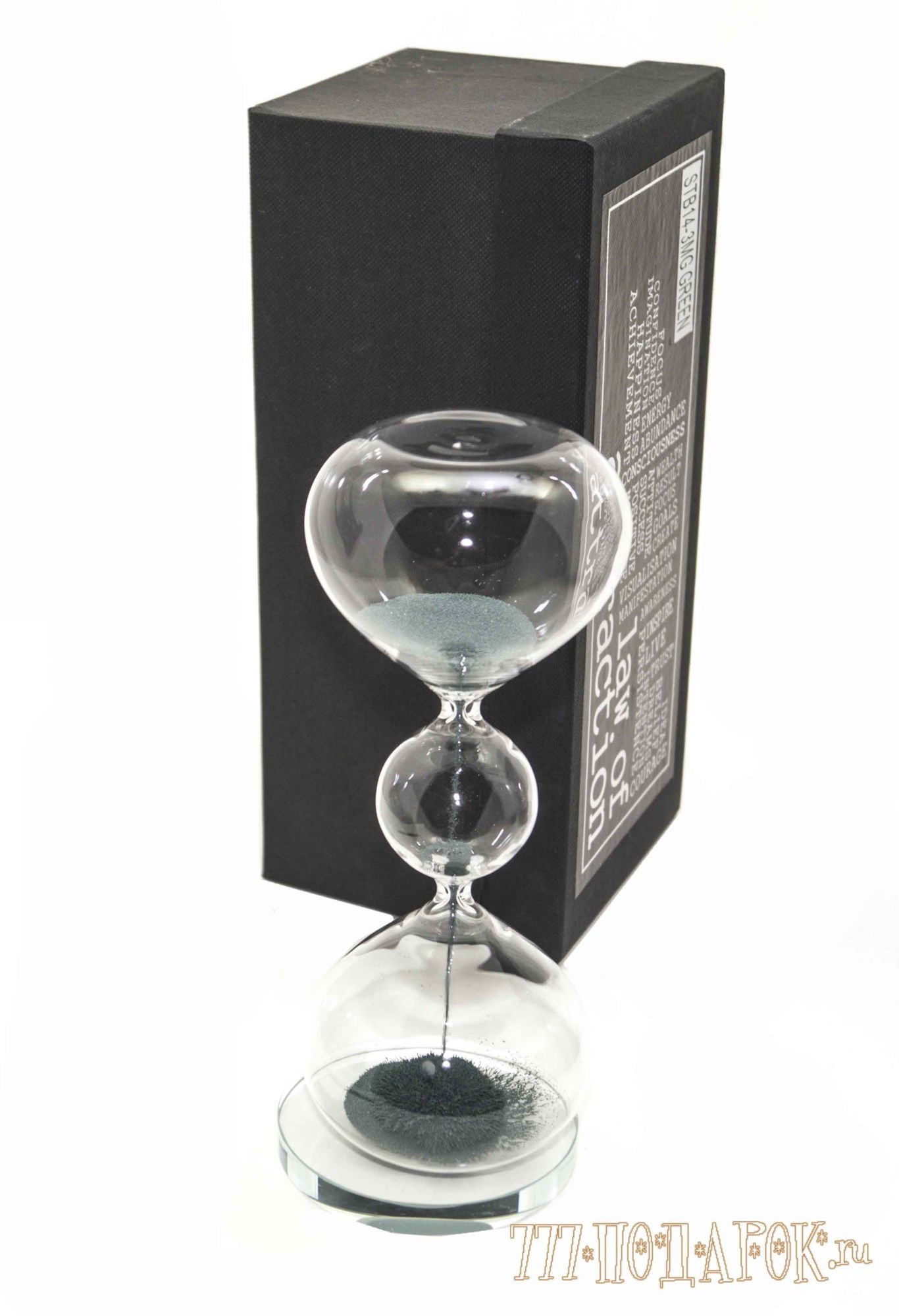 Песочные магнитные часы (высота 20 см, зеленый песок)