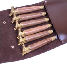 Подарочные шампура 6 штук в колчане Боевой конь темный