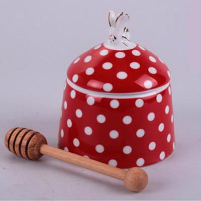Банка для мёда «Белый горошек» с деревянной ложкой