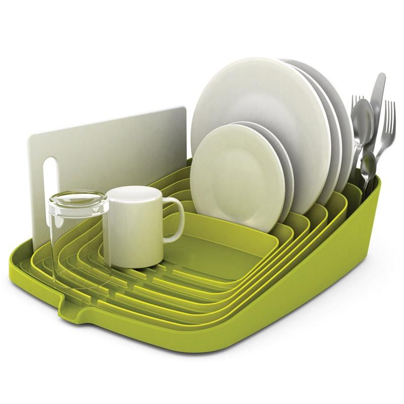 Сушилка для посуды и столовых приборов со сливом Arena™, зеленая