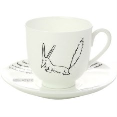 Фарфоровая кофейная чашка с блюдцем Лис