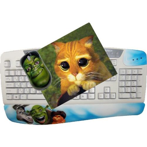 Клавиатура, мышь, коврик «Шрек»