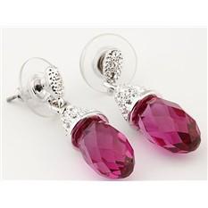 Серьги с кристаллами Swarovski Мечта Бриолетта розовые