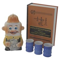 Подарочный штоф «Нефтяник» со стопками в футляре-книге