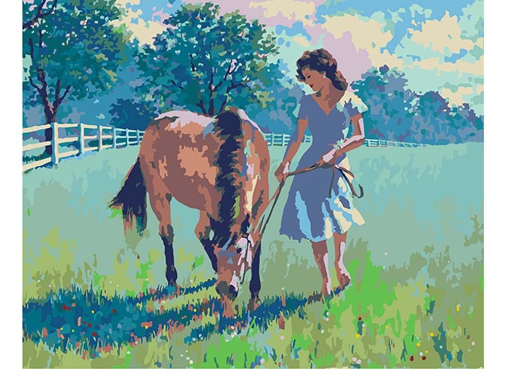 Картины по номерам «Девушка и лошадь»