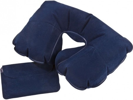 Темно-синяя надувная подушка под шею в чехле Sleep