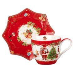 Новогодняя красная чайная пара Mister Christmas