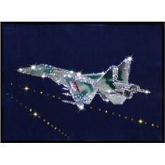 Картина с кристаллами Сваровски Истребитель