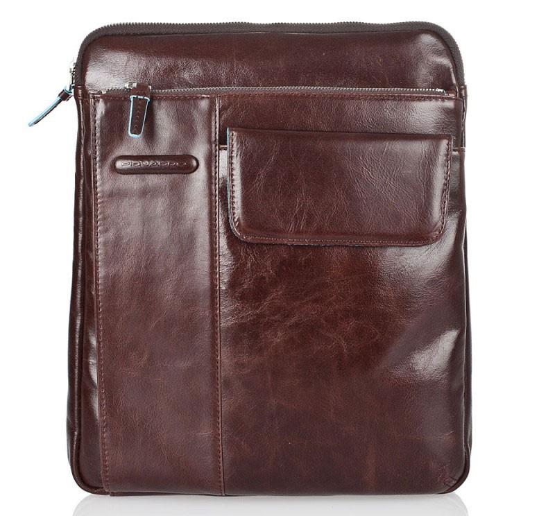 Коричневая кожаная сумка с ремнем Piquadro Blue Square