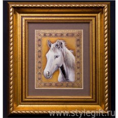 Панно-гравюра Белая лошадь