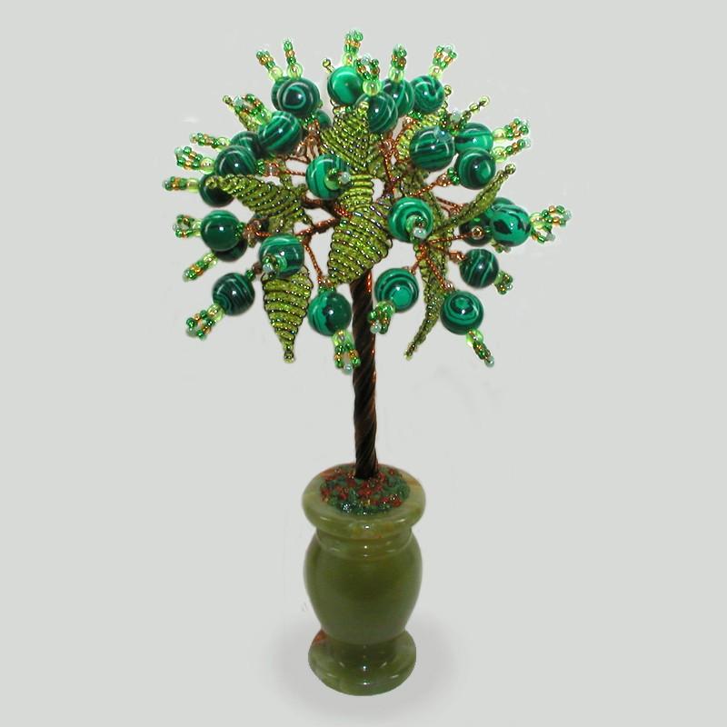Дерево гармонии из малахита в вазочке из оникса