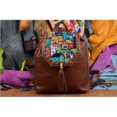 Коричневый кожаный рюкзак с принтом Сказочные домики