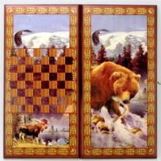 Малые нарды в деревянном коробе Медведь
