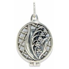 Серебряный открывающийся медальон Ландыш