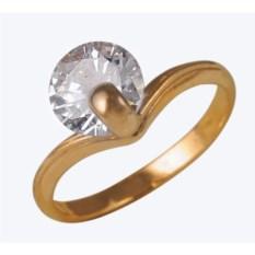 Женское позолоченное кольцо с крупным фианитом