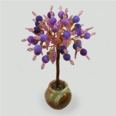 Дерево из сиреневого агата в вазочке из оникса