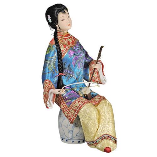 Кукла «Китаянка с сянисэн в синем»