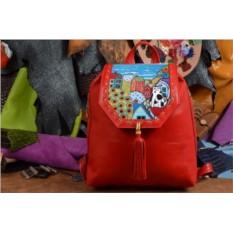 Женский красный кожаный рюкзак Кот на домике
