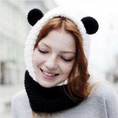 Вязаный снуд с капюшоном Панда