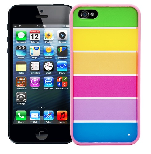 Чехол для iPhone 5 Strips with bright pink