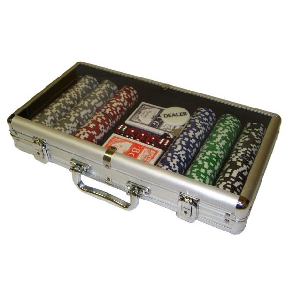 Набор для покера на 300 фишек в алюминиевом кейсе