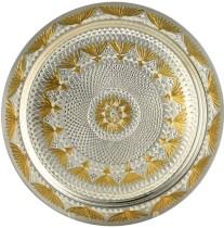 Серебряный поднос Лотос, с алмазной гравировкой