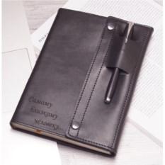 Дизайнерский кожаный ежедневник на кнопках с гравировкой