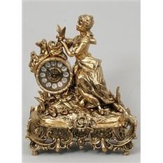 Часы Дама с розами, золотистые