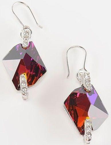 Серьги с кристаллами Swarovski Космик красные