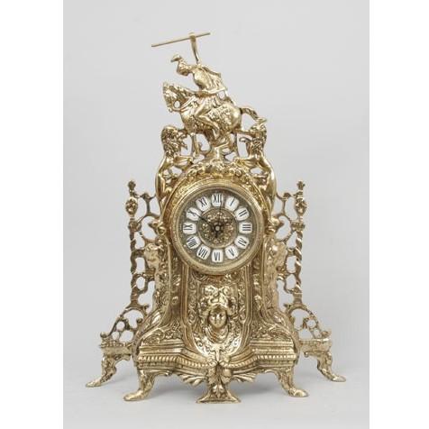 Часы бронзовые каминные Всадник и львы