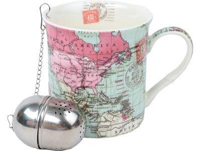 Набор: 2 кружки с ситечками Карта мира