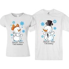 Парные новогодние футболки Снеговичок и Снежинка