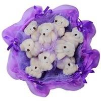 Букет из игрушек Бархатные мишутки фиолетовые