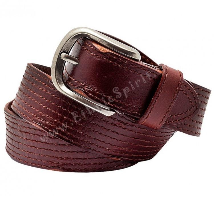 Коричневый кожаный ремень с прострочкой и утюжеными краями