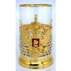 Литой серебряно-золоченый подстаканник Герб РФ с эмалью