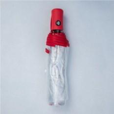 Прозрачный зонт с цветной ручкой