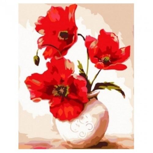 Картина-раскраска по номерам на холсте Маки в вазе