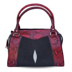 Красно-серная женская сумка из кожи ската и питона