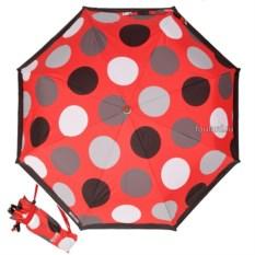 Красный женский зонт в горошек Moschino Maxi Pois Red