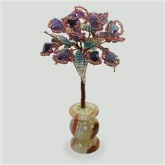 Миниатюрное дерево счастья из аметиста в вазочке из оникса
