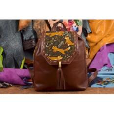 Коричневый кожаный рюкзак с принтом Забавные лисички