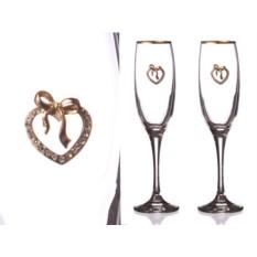 Пара бокалов для шампанского с золотой каймой Барбара
